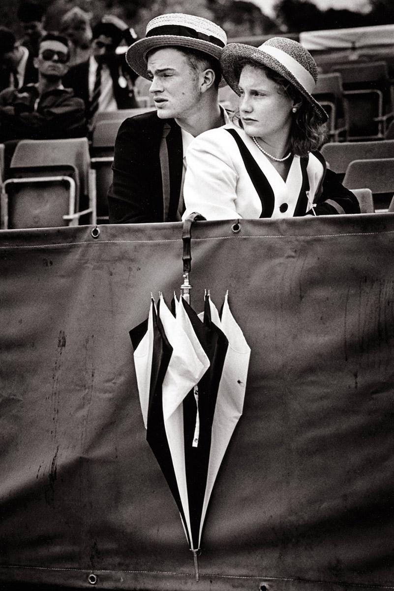 Tim Fox -Henley Regatta black and white - couple with umbrella