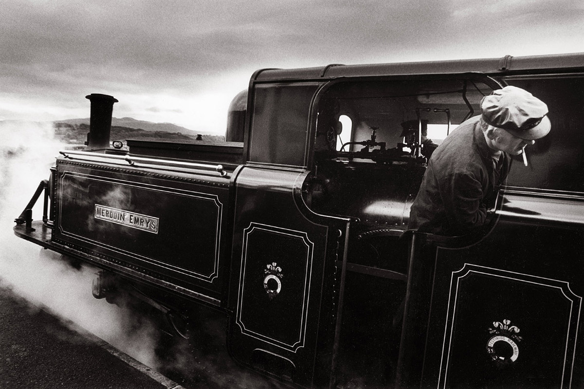 Tim Fox - Street Photograph North Wales - Steam train and driver with cigarette